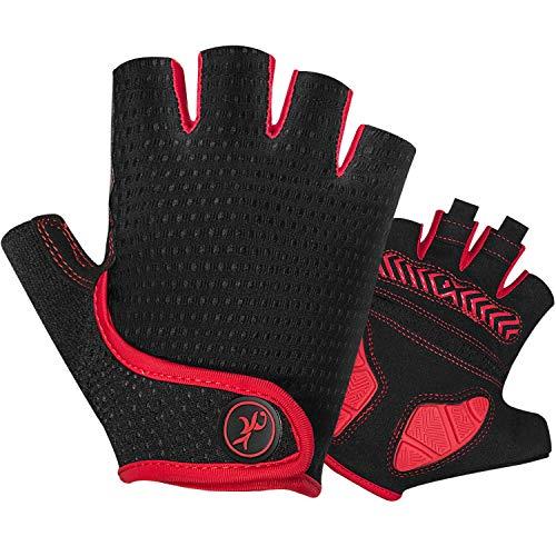 MOREOK Cycling Gloves Bike Gloves for Men Women,5MM SBR Gel Pad Half Finger Biking Glove MTB DH Road Bicycle Gloves Shock-Absorbing Mountain Bike Gloves AK098 Red M