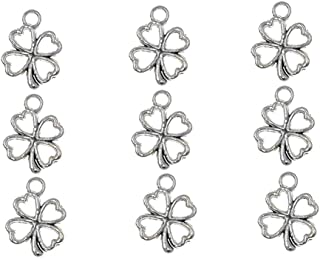100pcs Four Leaf Clover Lucky Charms Pendents for DIY Crafting Bracelet Necklace Jewelry Making Accessories By Alimitopia(Antique Silver)