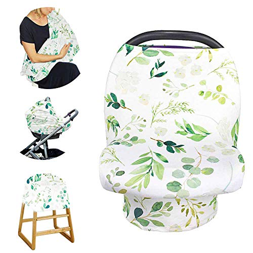 Stretchy Baby Car Seat Cover for Baby Boys and Girls,Multiuse - Nursing Breastfeeding Covers,Shopping Cart/High Chair/Stroller Covers,Infinity Scarf,Car Seat Canopies(Green Leaf)