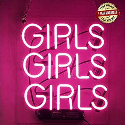 """Neon Signs Girl Girls Girls Girls Neon Signs Girl Wall Decor Neon Light Sign Led Sign for Bedroom Neon Words Cool Art Neon Sign Cute Neon Lamps Home Room Beer Bar Custom Red Neon Wall Light 12""""x10.6"""""""