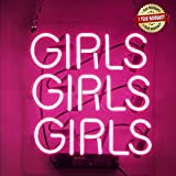 Neon Signs Girl Girls Girls Girls Neon Signs Girl Wall Decor Neon Light Sign Led Sign for Bedroom Neon Words Cool Art Neon Sign Cute Neon Lamps Home Room Beer Bar Custom Red Neon Wall Light 12'x10.6'