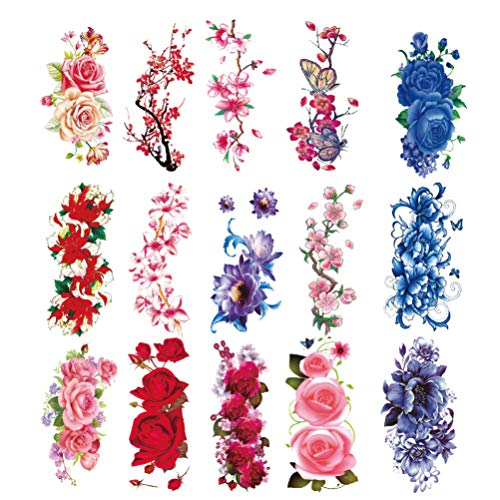 Lurrose 15Pcs Rose Peony Flowers Tattoo Stickers Temporary Tattoo Decals Waterproof Tattoo Pastes DIY Body Decals