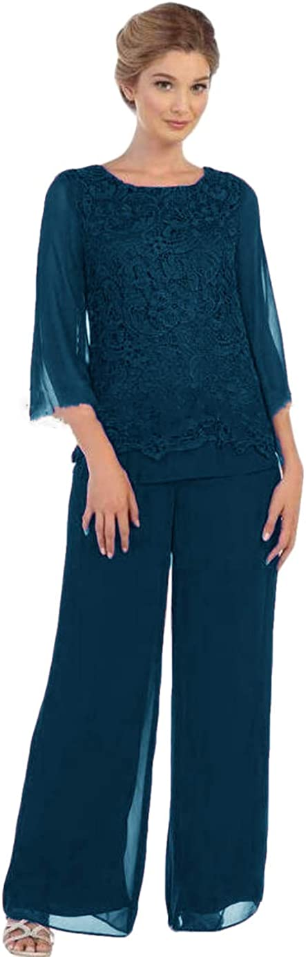 Women's Modest 2 Piece Mother of The Bridegroom Pant Suit Long Sleeve with Lace Top and Chiffon Pants
