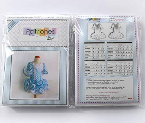 Patrón de costura vestido niña flamenca, estilo marisol, con vídeo-tutorial para realizarlo. Talla 1 a 8 años. Patrón multitalla en papel.