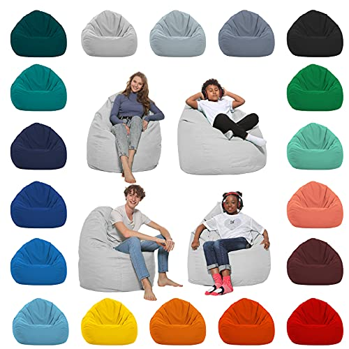 HomeIdeal - Sitzsack XXL Bodenkissen für Erwachsene & Kinder - Geeignet für Gaming oder Entspannen - Indoor wie Outdoor da er Wasserfest ist - mit EPS Perlen, Farbe:Weiß, Größe:XXXL