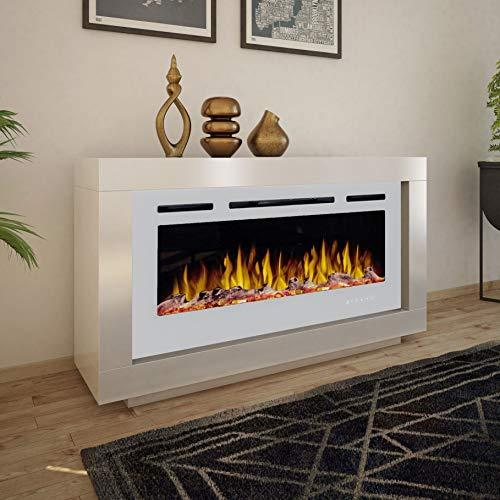 Noble Flame Ohio – moderner Design Elektrokamin Standkamin Kaminofen – LED Feuerambiente inkl. Heizfunktion – Feuerraum 97 cm - weiß