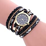 -Reloj de pulsera analógico de Sonnena Watches, de acero inoxidable, con joyas, estilo bohemio informal, para mujeres, como regalo de San Valentín, negro, Watch