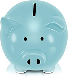 Koicaxy Piggy Bank, Child to Cherish Ceramic Pig Piggy Banks Money Bank Coin Bank for Boys Kids Girls Blue