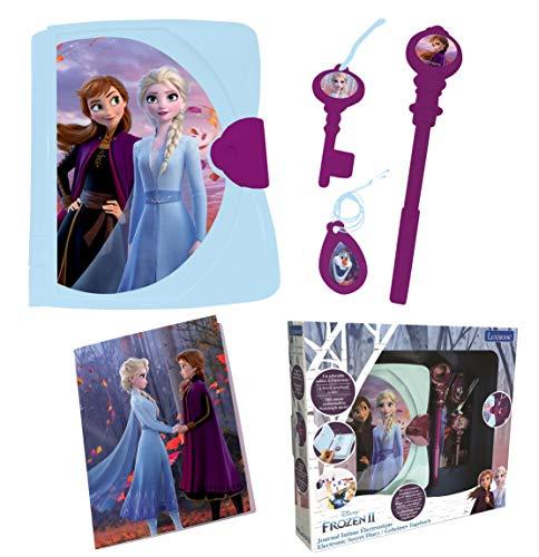LEXIBOOK- Disney Frozen 2, Diario Secreto Electrónico con luz y Sonido, Cuaderno, Llave, bolígrafo...