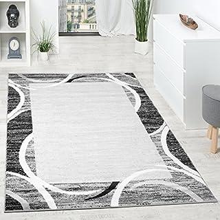 Alfombra De Diseño para Sala De Estar con Cenefa Gris Negro Crema Moteado, tamaño:120x170 cm