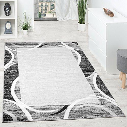Paco Home Wohnzimmer Teppich Designer Bordüre Meliert Grau Schwarz Creme Preishammer, Grösse:240x340 cm