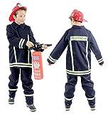 Foxxeo Feuerwehr Kostüm für Kinder Feuerwehrkostüm Jungen Faschingskostüm Größe 116-122