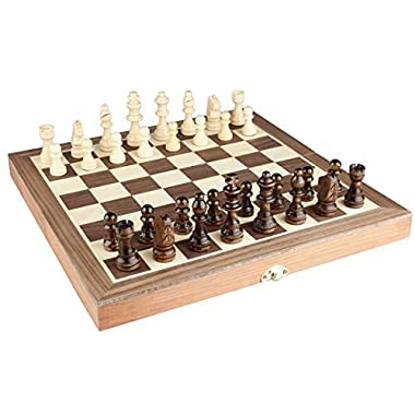 AMEROUS Chess Set, 12 x12  Folding Wooden Standard Travel International Chess Game Board Set with Magnetic Crafted Pieces