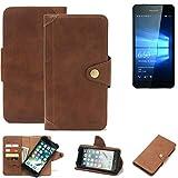 K-S-Trade® Handy-Hülle Für Microsoft Lumia 650 Dual-SIM Schutz-Hülle Walletcase Bookstyle Tasche Handyhülle Schutz Hülle Handytasche Wallet Flipcase Cover PU Braun (1x)