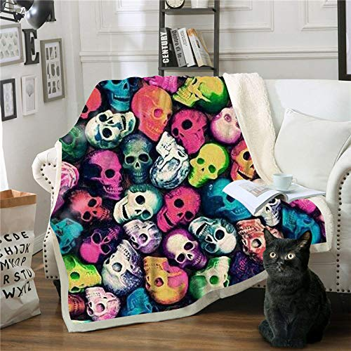 WNxiaobaozi deken, beddengoed in warme 3D druktoek, Cognac schedel, pluizig zachte fleece deken, Sherpa flanel pluche deken voor de slaapbank, 51.18 × 59.05 In (130 × 150 cm werpen)