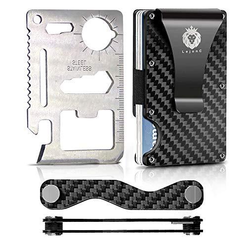 LejonC Caja de regalo regalo – Monedero para tarjetas de crédito – Monedero – Organizador de llaves – Clip para dinero RFID Smart hombre mujer billetera Clip de carbono