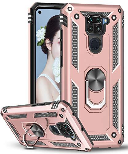LeYi Funda Xiaomi Redmi Note 9,Armor Carcasa con 360 Grados Anillo iman Soporte Hard PC Silicona TPU Bumper Antigolpes Case para Movil Note 9,Oro Rosa