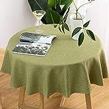Accesorios para sala de estar Mantel de lino de color sólido Resistente a las arrugas Cubierta de mesa redonda Suave Mesa de comedor en casa Lavable a máquina Mantel de algodón-F-Redondo 220CM
