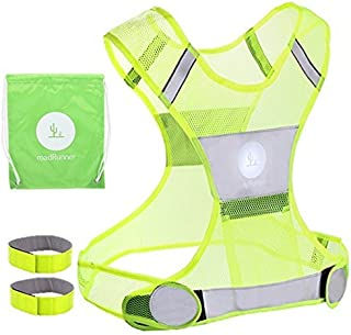 Reflective Vest for Running or Cycling | Yellow Safety Vest with Adjustable Straps for Women and Men with Pockets | Gear for Jogging, Biking | Two 3M Scotchlite Safety Reflective Bands Included