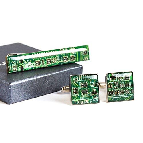 Manschettenknopfe und Krawattenklammer set mit Recycled Shaltungsplatine (circuit board), Grün