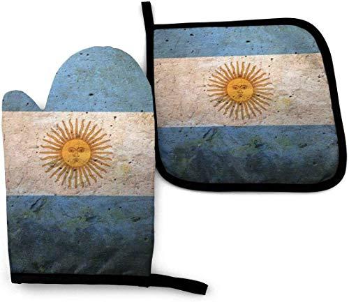 MODORSAN Argentinien Flagge Vintage Ofenhandschuhe und Topflappen Sets Hitzebeständige Küche Polyester Set zum Kochen, Backen, Grillen-Argentinien Flagge Vintage