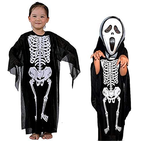 Costume Scheletro - Travestimento - Carnevale - Halloween - Zombi - Mostro - Morte - Ossa - Colore Nero - Bambino - Taglia L - 8-9 anni - Idea regalo per natale e compleanno