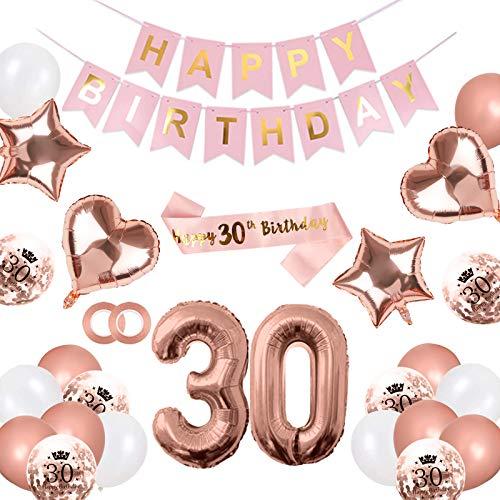 Puosike Juego de decoración para cumpleaños de 30 años, color oro rosa con 18 cumpleaños – Guirnalda de 'Happy Birthday', banda, globos de confeti, globos con forma de corazón para niñas