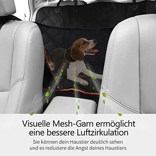 OMORC Hundedecke Autoschondecke, Wasserdichte Hundedecke für Auto Rückbank, 4-Lagigen Rutschfeste Design mit Sicherheitsgurt Sichtfenster für Auto/Van/SUV - 2