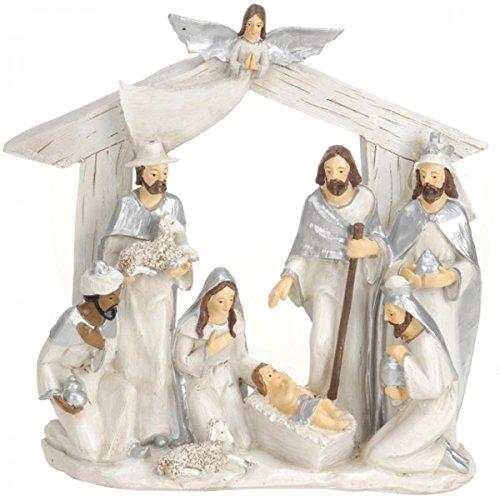 Krippe 22x7x22 cm 2 sortiert Krippenfiguren Weihnachten Figuren Krippe Christmas, Farbe:Silber