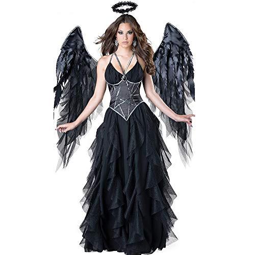 dehong Halloween Vampire Dunkle Fallen Angel Kostüm, Cosplay Schwarz-Abendkleid-Teufel-Partei-Kleid Mit Flügeln Kopfbedeckung Für Halloween Karneval Masquerade (S)