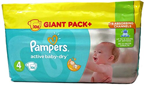 Pampers Active Baby Dry Gr.4 8-14 kg 106 Stk. Windeln Monatsbox Giant Pack+