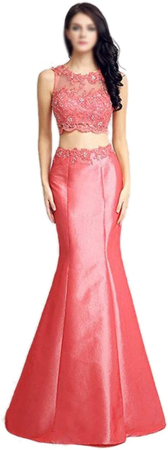 CEFULTY Women's Sexy Embroidery Beads Bride Evening Dress,2Pieces (color   color, Size   US10)