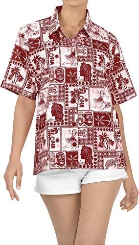 LA LEELA Novio Cuello de la Camisa Blusas Hawaiano Bebe Casual Manga Corta m Blood Rojo_X366