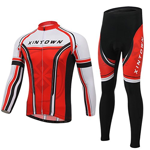 Baymate Homme Vélo Maillot Cyclisme Set á Manche Longue et Respirant Cyclisme Pantalons