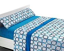 SABANALIA Juego de sábanas de coralina Spring - Azul, Cama 150