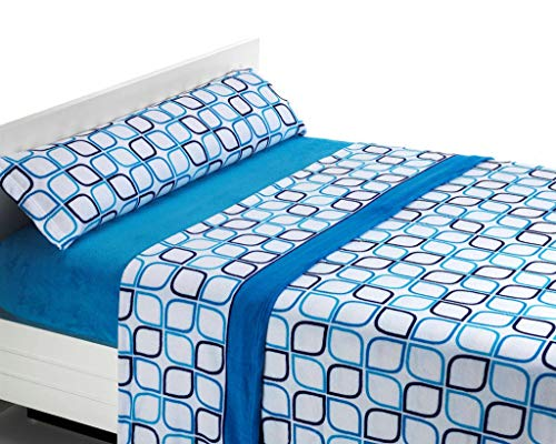 SABANALIA Juego de sábanas de coralina Spring - Azul, Cama 90