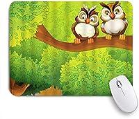 VAMIX マウスパッド 個性的 おしゃれ 柔軟 かわいい ゴム製裏面 ゲーミングマウスパッド PC ノートパソコン オフィス用 デスクマット 滑り止め 耐久性が良い おもしろいパターン (フクロウ鳥の枝愛の友人かわいい動物漫画愛らしい森)