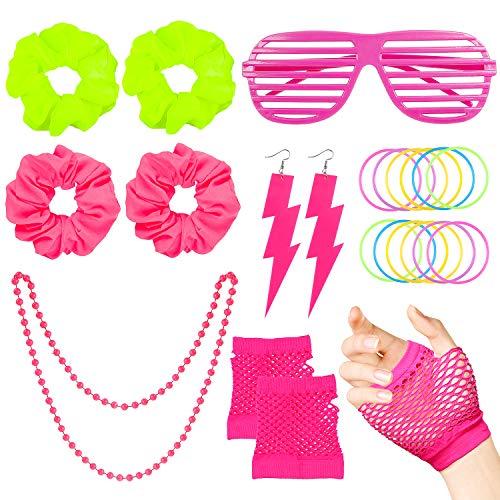 WATINC 22Pcs 80er Jahre Retro Neon Kostüme Outfit Zubehör Haargummis Haare Pink Shutter Brille Fingerless Fishnetz Handschuhe Red Flash Ohrringe Gelee Armbänder Halskette Party Accessories für Frauen