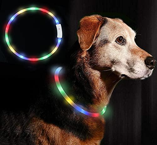 Anicoll LED Leuchthalsband Hunde Halsband USB wiederaufladbar - Längenverstellbarer Haustier Sicherheit Kragen für Hunde und Katzen- 4 Modus 12 Lichte (Bunt)