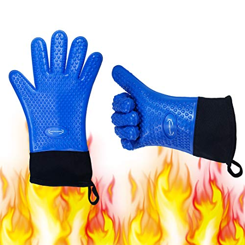 Long Silicone Grill Gloves - Heat Resistant Oven Mitts & Potholders for BBQ, Cooking, Baking – Wrist Protected, Waterproof, Cotton Layer Inside, Non-Slip Grill Accessories, 1 Size Fits All (Blue)