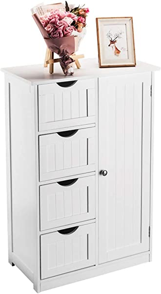 Bonnlo Small Bathroom Floor Cabinet Free Standing Waterproof Wooden Side Storage Organizer With 4 Drawer And 1 Cupboard Homes Furniture White
