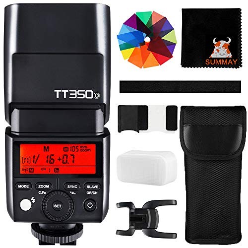 Godox TT350O Mini Cámara Flash 2.4G HSS 1 / 8000s TTL GN36 para Olympus Panasonic Cámaras Digitales sin Espejo 20 Filtro de colormaras Digitales sin Espejo 20 Filtro de Color