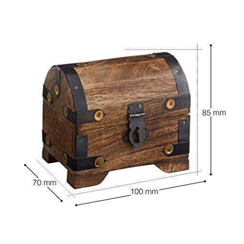 Casa Vivente Holztruhe – Bauernkasse – Schatztruhe – Schmuckkästchen – Spardose – Aufbewahrungsbox aus Holz – Klein – 10 cm x 7 cm x 8,5 cm (Dunkel – Klein) – Verpackung für Geldgeschenke - 7