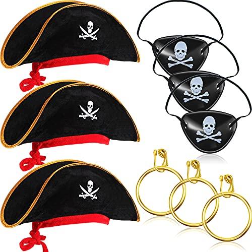 9 Piezas de Sombreros de Pirata Estampados de Calavera Parches de Ojo de Calavera Pirata de Plástico Pendientes de Pirata Accesorio de Disfraz Pirata Gorra de Disfraz Pirata para Halloween