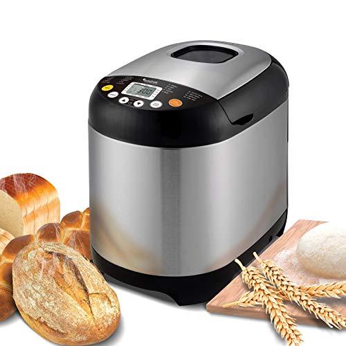 Brotbackautomat 19 Programme, 500-1000g, Joghurt, glutenfreies Brot, Marmelade, Edelstahl, Brotbackmaschine