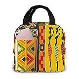 Lsjuee elementos africanos decorativos históricos originales rayados aislados bolsa de almuerzo lonchera enfriador caja de asas enfriador bolsa almuerzo C