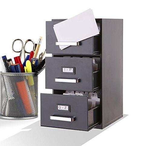 Mini archivador de 22,86 cm para escritorio, para archivar tarjetas de visita de 85 x 55 mm, con 3 cajones, color negro