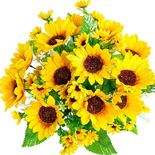 Whaline 3 Bunches Artificial Silk Sunflower Fake Sunflower with 13 Heads Realistic Flower Bouquet Faux Floral Arrangements for Home Wedding Anniversary Table Centerpiece Spring Summer Decoration