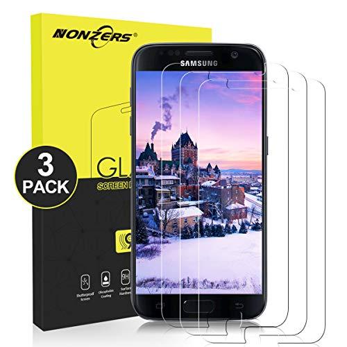 NONZERS 3 Stück Panzerglas für Samsung Galaxy S7 Schutzfolie, 2.5D Runde Kante Displayschutzfolie 9H Härte Bubble-frei Ultra Klar Kratzfest 3D Touch Kompatible Galaxy S7 Panzerglasfolie