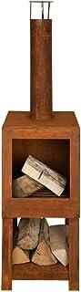 Esschert Design Terrassenofen mit Holzlager, in Rost Optik, 38,4 x 38,4 x 136,3 cm, Gartendekoration, Holzofen mit Zubehör